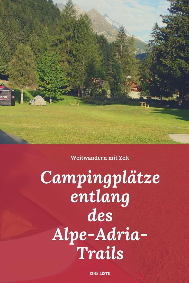 Campingplätze entlang des Alpe-Adria-Trails